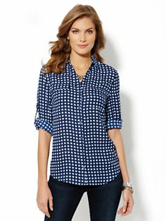 Mercer Soft Shirt - Grid Print - New York & Company