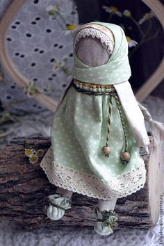 """Куколка для сна """"Полевые травы и ромашка"""". - зелёный,куколка для сна,народная кукла"""