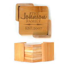Square Wood Coasters (6) - Personalized family name with est date and arrows