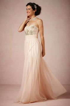 Strapless Blush Wedding Dress With Sweetheart Neckline & Gold & Silver Embroidery On Bodice; Dress by BHLDN>>>>