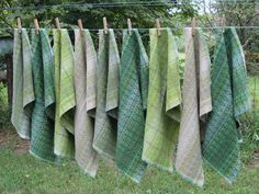 https://flic.kr/p/xwcKL3 | Watercress Spring Towels |       Nine towels.  No two exactly alike.  Cotton and linen yarns.