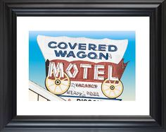 "Neon Sign - ""covered Wagon Motel - Buena Park Ca"" Fine Art Photograph - Retro…"