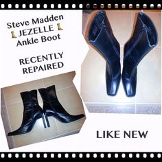 STEVE MADDENJEZELLE ANKLE BOOT The Jezelle by Steve Madden, BLACK color, is a fashion forward casual ankle boot.  They have an ultra straight, rectangular stacked heel and decorative stitching down the front.  They are pre-owned and in great condition, I RECENTLY REPLACED BOTH heel caps. They are free of scuffs and scratches, the soles ARE LIKE NEW.  All areas of wear can be seen in the pictures.  They are ready for their second life. MESSAGE ME ANY QUESTIONS. No box Steve Madden Shoes…