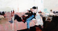 "Group on a Sofa 8.5"" x 16"", oil on wood"