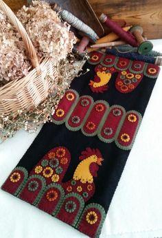 Penny Roosters Wool Applique Table Runner Wool Kit (as seen in Wool Works Magazine)