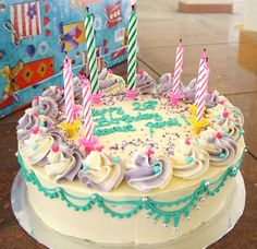 Happy Birthday Cake with Candles and Wishes
