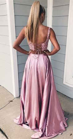 fa06a3c02d4 The material of this charming two-piece prom dress is lace and satin