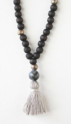 Dark Wood Bead Labradorite Tassel Necklace