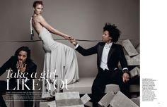 Les Twins grace the pages of British Vogue, appearing in the magazine's December 2015 issue. The dancing brothers join top model Karlie Kloss for the magazine's cover shoot, which was lensed by fashion photographer Patrick Demarchelier. Ending the year in style, Les Twins are styled by Lucinda Chambers.