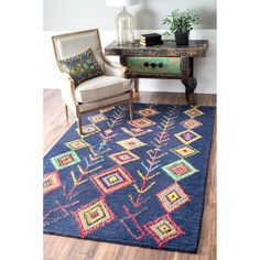 nuLOOM Contemporary Hand Tufted Wool Moroccan Triangle Beige Rug (5' x 8')