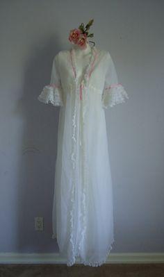 Vintage white Olga chiffon peignoir robe from MadMakCloset on Etsy.