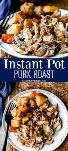 Instant Pot Pork Roast with gravy. This recipe makes tender pork topped with rich gravy, carrots, and potatoes. Easy one pot meal. Pork Roast With Gravy, Pork Pot Roast, Boneless Pork Roast, Pork Roast Recipes, Instant Pot Pork Roast Recipe, Best Instant Pot Recipe, Instant Pot Dinner Recipes, Pork Butt Roast Crock Pot Recipe, Instant Pot Pork Shoulder Recipe