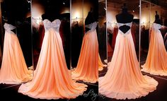 This elegant strapless flowing gown has a sweetheart bodice that sparkles with shimmering crystals and glamorous embellishments. Cut out at the back, this sassy look has a skirt which flutters in luxuriously soft layers Absolutely gorgeous and ONLY at Rsvp Prom and Pageant, Atlanta, Georgia or Buy it HERE at http://rsvppromandpageant.net/collections/long-gowns/products/peach-strapless-prom-dress-sweetheart-embroidered-neckline-open-back-chiffon-flowing-skirt-115jc054170438
