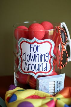 photo booth or centre piece? clown noses for the photos