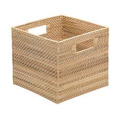 Mistana Rectangle Coastal Rattan Storage Basket Size: H x W x D Pretty Storage Boxes, Fabric Storage Boxes, Fabric Bins, Wicker Baskets With Handles, Seagrass Storage Baskets, Rattan, Rectangular Baskets, Basket Decoration, Decorative Pillows