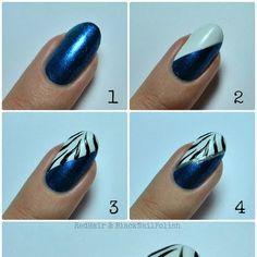 We have some amazing blue nail art designs and in this article we will talk about all the different things you can do to have blue nail designs. Cute Nail Art, Nail Art Diy, Beautiful Nail Art, Easy Nail Art, Gorgeous Nails, Diy Nails, Pretty Nails, Zebra Nail Art, Blue Nail Designs