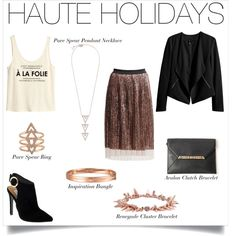 Complete your Haute Holidays look with a white tank top, H&M jacket, suede shoes and Rose Gold accessories by Stella & Dot