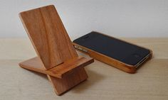 Wood Phone Stand. Cherry wood. by NotAScratch on Etsy, $19.99