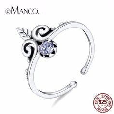 Women's 925 Silver - Color  Luxury Crown Shape &Plant Cute Ring Colorful Shining Round Stone Ring 2018 New Arrivals Jewelry