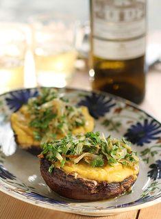 Roasted Portobello Mushrooms Stuffed with Greek Fava