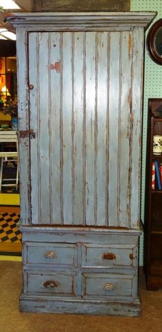 Primitive Blue Painted Cupboard