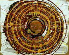 """Giuseppe Marchetti (Italy) """"6_12"""" Smalti e pigmento metallico color oro su tavola rinforzata da telaio in legno (sul retro) cm. 40x50"""