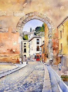Puerta Elvira.Granada by Margaret Merry.