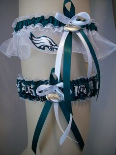 NFL Team Philadelphia Eagles Wedding Garter Set, via Etsy.