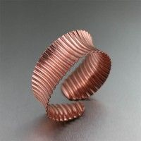 This brilliant Corrugated Copper Anticlastic Bangle gives your outfit a boost of shimmer and shine with its ribbed pattern and unique concave design. Welcome this bold versatility to your jewelry collection and reclaim your diva crown! Copper Cuff, Copper Bracelet, Copper Jewelry, Unique Jewelry, Jewelry Tools, Jewelry Ideas, Bangle Bracelets, Jewlery, Copper Gifts