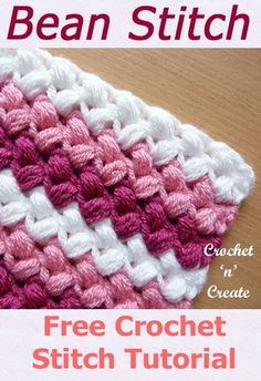 Free stitch tutorial for bean stitch, lovely warm design for throws, blankets etc. CLICK and scroll down for instructions. Free Crochet Tutorial Bean Stitch - fun textured design that is great for any project, it is thick and warm and can be used for hats Crochet Stitches For Blankets, Crochet Stitches Free, Afghan Crochet Patterns, Crochet Basics, Free Crochet, Knitting Patterns, Knit Crochet, Pattern Sewing, Crotchet