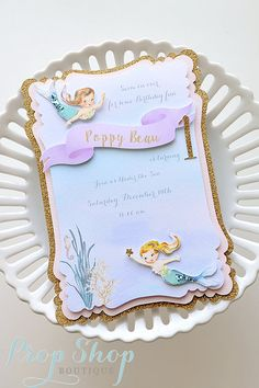 Vintage Mermaid Birthday Invitation by propshopboutique on Etsy