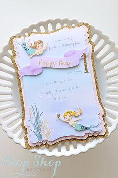 Vintage Mermaid Birthday Invitation by propshopboutique on Etsy