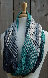 Secret Beach infinity scarf by Maggie Murphy. Worsted.