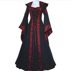 Ladies Medieval Hooded Gown