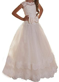 8a21bc069 Lisa Lace A-line Flower Girl Long Gown Holy First Communion Dress LS143