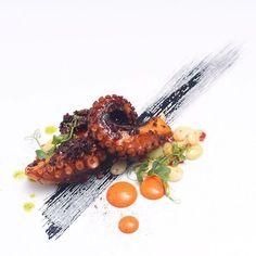 Nick Pitt - Charred Nduja Octopus, Black Garlic, Romesco, Lima Beans, Piquillo Pepper, and Salsa Verde