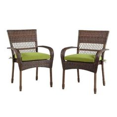 Charlottetown Brown AllWeather Wicker Patio Dining Chair with Green Bean Cushion 2Pack -- You can find more details by visiting the image link.(This is an Amazon affiliate link and I receive a commission for the sales)