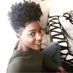 now his is tapered and faded mashup perfection! is flawless with her curls and beautiful brown skin! Tapered Afro, Tapered Haircut, Short Natural Styles, Tapered Natural Hair, Natural Hair Inspiration, Hair Journey, Hair Today, Hair Looks, Short Hair Cuts