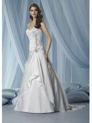 Satin Strapless Sweetheart Ruffled Bodice A-line Wedding Dress