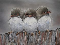 Pastel on watercolour paper…..50cm x 30cm  / Adore fairy wrens and these are three babies together.They are always outside my windows fluttering around. So very hard to catch an image of them. I have created a similar work before, they are waiting for their Dad to return. Thanks to Pete Pevy (PPV247) for his fantastic image to use as reference and inspiration. • Buy this artwork on apparel, stickers, phone cases, and more.