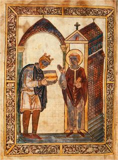 The image is the frontispiece to a manuscript of Bede's Lives of St Cuthbert which Æthelstan presented to Cuthbert's community in 934 (Cambridge, Corpus Christi College, MS 183, fol. 1v).   The community had abandoned Lindisfarne, and re-located at Chester-le-Street (near Durham).