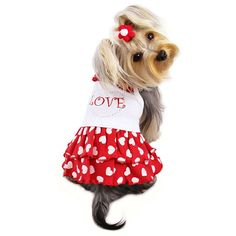 Adorable Dog Sundress with Sparkling Rhinestones and Hearts Sizes: X-Small * Check this awesome image : dog clothes Dressed Up Dogs, Fancy Bed, Puppy Diapers, Really Cute Dogs, Cute Dog Clothes, Designer Dog Clothes, Dog Boutique, Dog Dresses, Dog Design
