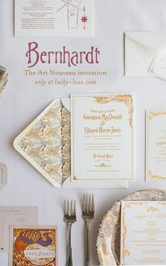 Bernhardt | Lucky Luxe Heirloom Design | Letterpress Wedding Invitations | Like the swirling, intricate posters of French actresses of the late 1800s, this invitation is inspired by the art nouveau movement. Bernhardt and Peacock were both originally designed for Martha Stewart Weddings magazine. Click to shop!