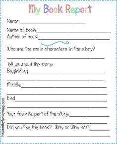 Pinterest  Printable Book Report Forms