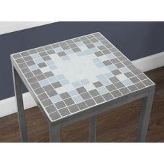 Monarch Specialties Square End Table - Gray/Blue