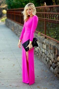 "Hot Pink Slit Dress Unknown Dresses | ""Perfect Pink"" by Yellowdiamonds - Chictopia"