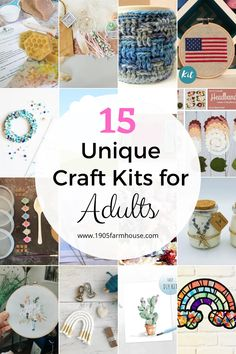 Kids aren't the only ones who can have fun with craft kits! These 15 craft kits from Etsy are unique and fun for any adult Diy Arts And Crafts, Diy Craft Projects, Creative Crafts, Home Crafts, Fun Crafts, Craft Ideas, Craft Kits For Kids, Diy For Kids, Crafts For Kids