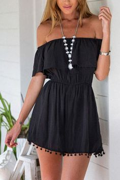 Black Front Layered Off Shoulder Dresses