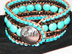 Leather Wrapped 5 Five Row Cuff Beaded  Bracelet by trevor4995, $49.00