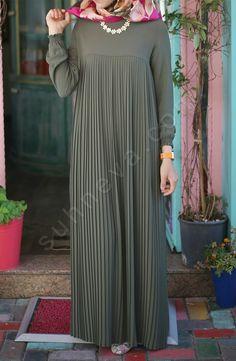 Piliseli Robalı Elbise - Yeşil